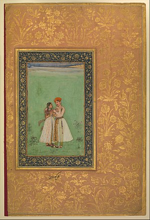 """Shah Shuja with a Beloved"", Folio from the Shah Jahan Album MET DP247727.jpg"