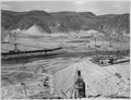 """""""Three-view panorama from top of east abutment. The Eastmix concrete plant under construction appears in the center... - NARA - 294278.tif"""