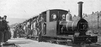 2 ft and 600 mm gauge railways - The Groudle Glen Railway Sea Lion locomotive c. 1910 on the Isle of Man.