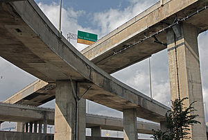 Turcot Interchange - Underside of the various overpasses comprising the Turcot Interchange.
