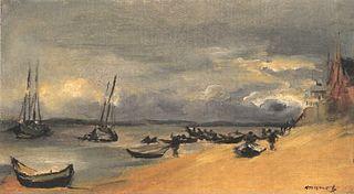 Seestück im Sturm bei Arcachon