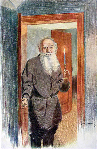 В.И.Россинский. Толстой прощается с дочерью Александрой. Бумага, карандаш. 1911