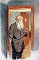 В. Россинский. Объявление о своем отъезде - Толстой открывает дверь в комнату дочери. Бумага, карандаш. Авторская литография. 44х30,5.jpg