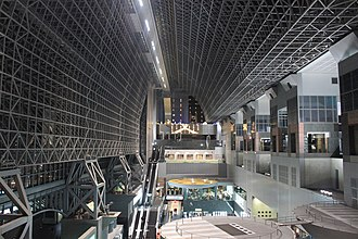 Kyōto Station - Station concourse, wast and east ends viewed from upper level