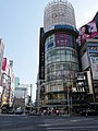 屋上広告塔 100パーセント自然エネルギー化 工事中 2014 (15336145514).jpg