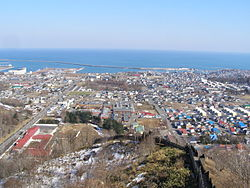 Panorama view of downtown Hiroo and Pacific Ocean, from Maruyama Park