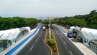 Bus lane - BRT lane laid on Taiwan Boulevard in Taichung, Taiwan