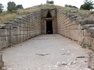 "Treasury of Atreus ""tholos"" tomb located on the Panagitsa Hill at Mycenae, Greece, that dates ca.1250 BC"