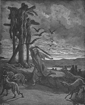 Armoni and Mephibosheth - Depiction by Gustave Doré of Rizpah guarding the bodies of Armoni and Mephibosheth.