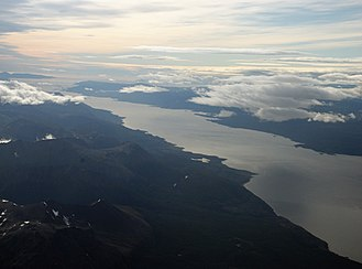 Beagle Channel - Partial aerial view of Beagle Channel. The Chilean Navarino Island is seen in the top-right while the Argentine part of Isla Grande de Tierra del Fuego is seen at the bottom-left.