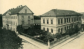 Theresienstadt Ghetto - Buildings in Theresienstadt, 1909 postcard