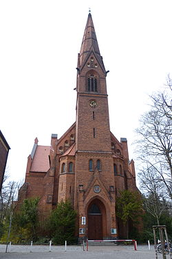 St. Matthew's Church [de] in Steglitz is owned and used by a congregation within the Evangelical Church of Berlin-Brandenburg-Silesian Upper Lusatia, a united church body of Calvinist, Lutheran and united congregations.