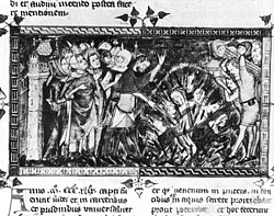 1349 burning of Jews-European chronicle on Black Death