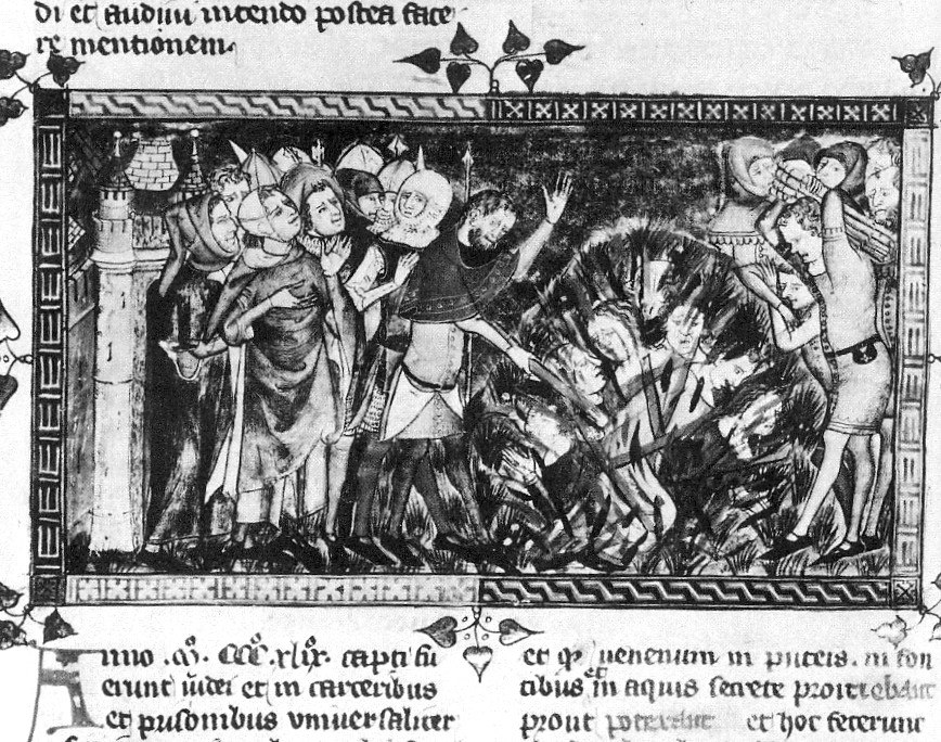1349 burning of Jews-European chronicle on Black Death