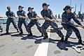 160712-N-TC720-111 - U.S. Navy sailors aboard USS Donald Cook (DDG-75) heave on a mooring line in Rota, Spain.jpg