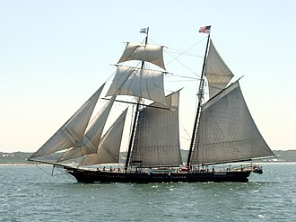 Schooner - Traditional square topsail schooner Shenandoah, sailing in Nantucket Sound.