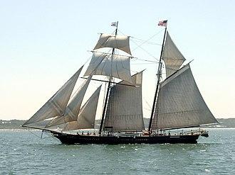 Schooner - Traditional square topsail schooner Shenandoah, sailing in Nantucket Sound.
