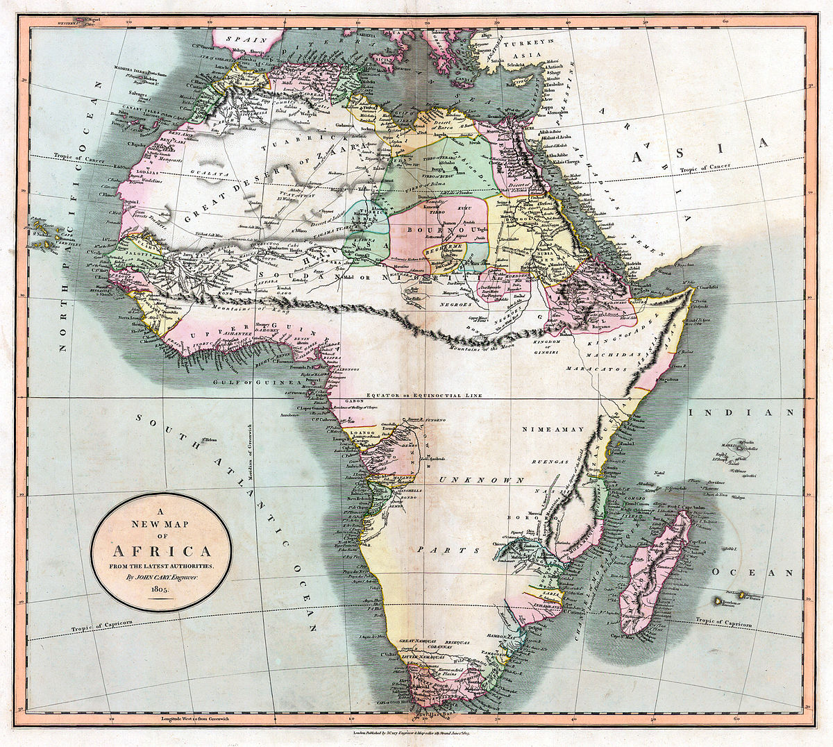 19th Century Africa Map.Mountains Of Kong Wikipedia