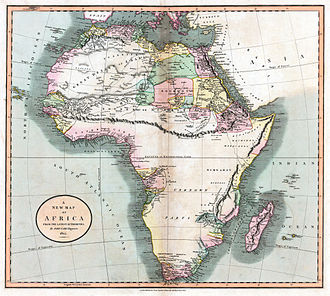 Mountains of Kong - A map of Africa, made by John Cary in 1805 showing the mountains of Kong extending eastwards to the Moon mountains.