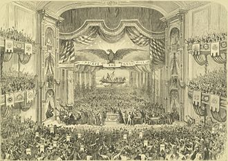 1872 Democratic National Convention - Interior of Ford's Grand Opera House of John T. Ford, (1829-1894), on East Fayette Street (between North Howard and Eutaw Streets) of Baltimore during the 1872 Democratic National Convention, (built 1871, razed 1964)