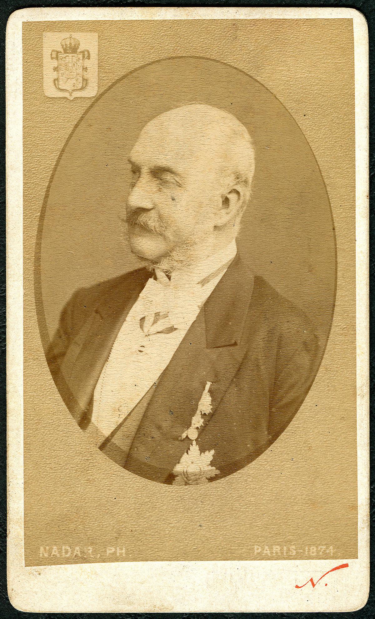 1874 Carte de Visite Georg V., König von Hannover roi de Hanover King of Hanover, Wappen T, Nadar Bildseite.jpg