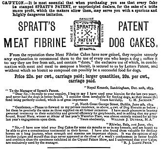 "Charles Cruft (showman) - An 1876 advert for Spratt's Patent Meat Fibrine Dog Cakes, featuring the cross ""trademark"" that Cruft introduced"