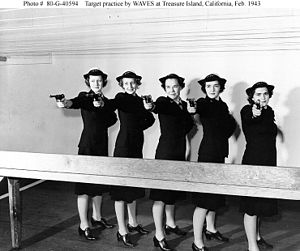 High Standard Manufacturing Company - Publicity photo of U.S. Navy WAVES taking target practice with .22 caliber Model B training pistols in 1943