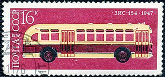 """GM """"old-look"""" transit bus - A 16 kopek Soviet stamp issued in 1976 showing a ZIS-154 bus."""