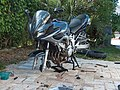 2005 Yamaha FZ6 motorcycle getting maintained (HPIM0733).jpg