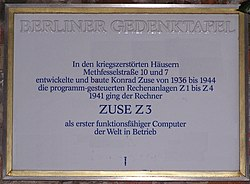 Photo of Konrad Zuse white plaque