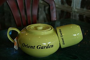 Tea kettle and cup at Orient Garden, a Chinese...
