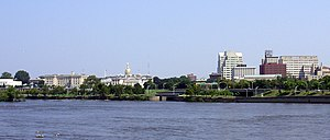Trenton, New Jersey - Downtown Trenton from across the Delaware River. Note the gold top of the State House.