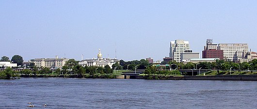 2009-08-17 View of downtown Trenton in New Jersey and the mouth of the Assunpink Creek from across the Delaware River in Morrisville, Pennsylvania.jpg