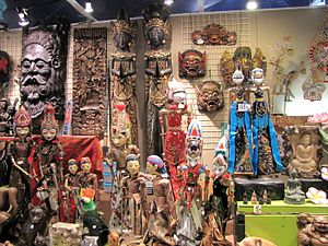 Indonesian art - Wood carvings from various parts of Indonesia on display, most notably wayang golek from West Java and Balinese masks and woodcarvings.