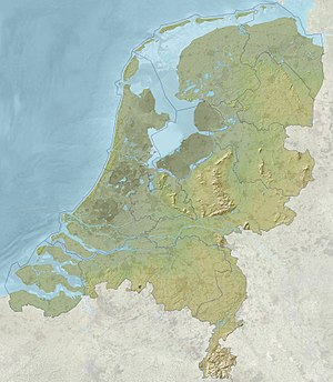 Geography of the European Netherlands - Relief map of the Netherlands in Europe.