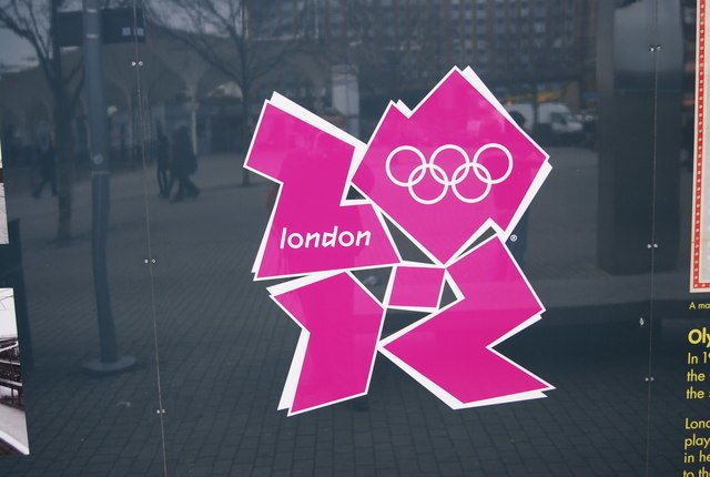 2012 Olympic Logo outside Stratford station - geograph.org.uk - 1128424