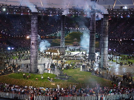 A scene from the opening ceremony of the 2012 Summer Olympics in London. - Olympic Games