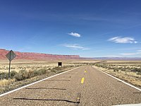 2016-03-20 13 55 17 View south along U.S. Route 89A near the west end of the Vermilion Cliffs about 42.2 miles north of U.S. Route 89 in Coconino County, Arizona.jpg