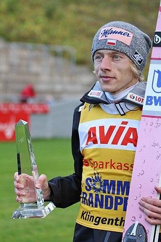 Dawid Kubacki - Kubacki after winning competition of the 2017 FIS Ski Jumping Grand Prix in Klingenthal.