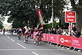 2018 Tour of Britain stage 3 155 Mads Schmidt, 022 Paddy Bevin and 133 Dimitri Strakhov sprinting at Yatton.JPG