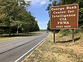 2019-09-16 12 33 11 View north along the George Washington Memorial Parkway at the exit for the George Bush Center for Intelligence, Central Intelligence Agency and Federal Highway Administration in McLean, Fairfax County, Virginia.jpg
