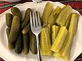 2019-11-28 14 21 21 A plate of sweet pickles (left) and dill pickles (right) laid out for Thanksgiving Dinner in the Parkway Village section of Ewing Township, Mercer County, New Jersey.jpg