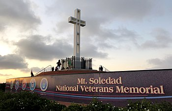 2019 Mt. Soledad National Veterans Memorial at dusk 1.jpg