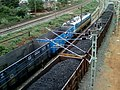28126 WAG-7 loco with empty freight rakes at Simhachalam 02.jpg