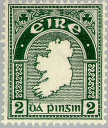 Irish postage stamp denominated two pence showing a green outline map of the island of Ireland with the Gaelic words Éire for Ireland and dá pingin for two pence