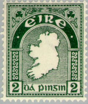 Postage stamps of Ireland - 2d Map of Ireland: first Irish postage stamp