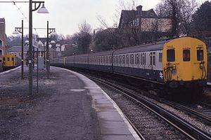 Caterham railway station - A 4 EPB on the Southern Region standing at Caterham railway station in 1984.