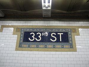 33rd Street (IRT Lexington Avenue Line) - Image: 33rd Street IRT 003