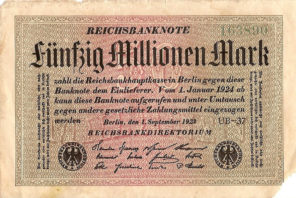 50 millionen mark 1 september 1923