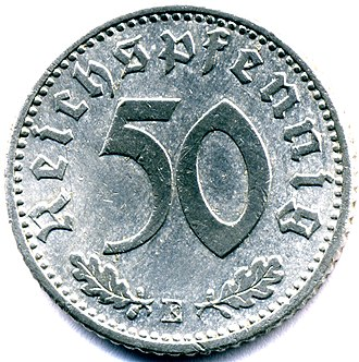 50 Reichspfennig (World War II German coin) - 50 Reichspfenning 1939e  reverse with denomination and mint mark